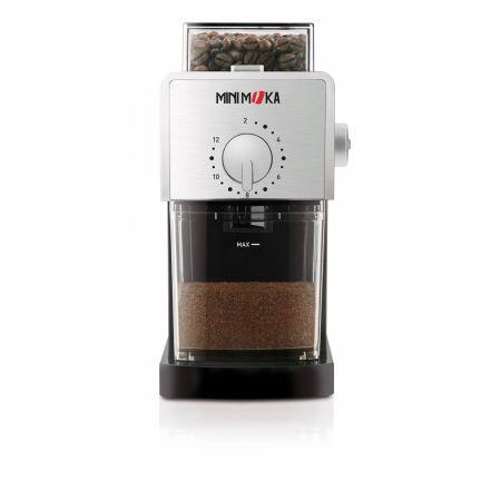 Rasnita cafea semiprofesionala Minimoka GR 0278. 110W, container boabe 180g, reglarea macinarii, pentru 1-12 cesti, freze planetare, ptr. acasa,birouri. Negru/INOX